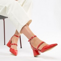 Bershka multi strap block shoe in red at asos.com