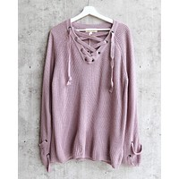 Lace Up Grommet Knit Sweater in Dusty Purple