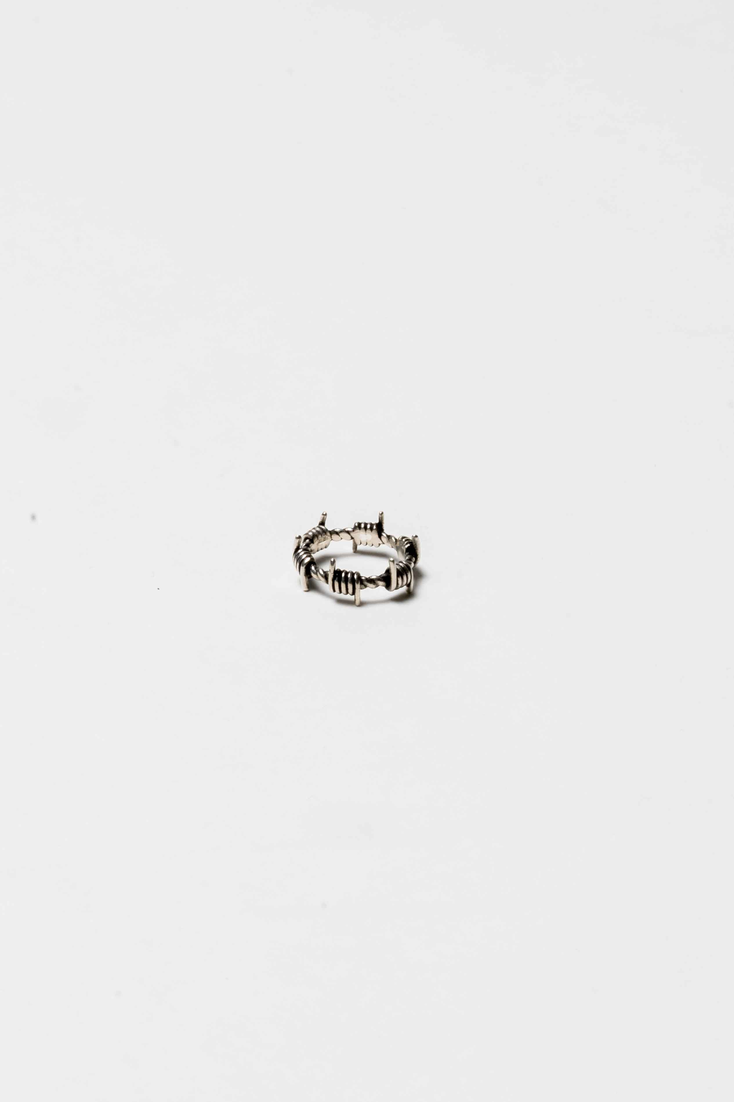 Image of The Silver Stone Barbed Wire Ring