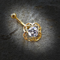 Gold Large Round CZ Center Tribal Filigree 316L Surgical Steel Belly Button Navel Rings