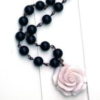 Pale Pink Rose And Black Beads Vintage Necklace by roomofyourown