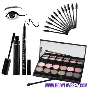 Eyes Makeup Set Mascara + Eyeliner + Eyeshadow + Make up Kits