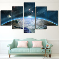 2016 5Planes Wall Painting Sunrise The Earth Canvas Art Pictures Milky Way Poster And Prints Home Decoration For Living Room
