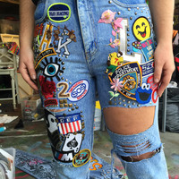 Patched Out Vintage HIGHWASTED Jeans