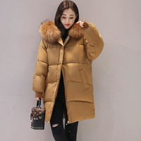 Winter coat women casual solid fur collar Bat sleeved cotton padded winter jacket women womens clothing outwear warm  parka