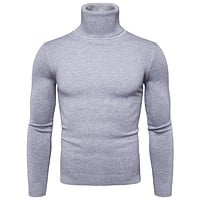 Turtleneck Sweater Men Fashion Solid Knitted Mens Sweaters  Casual Male Double Collar Slim Fit Pullover