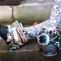 Upcycled REWORKED black vintage luxury boho tribal COWBOY BOOTS 7 - 8 ready to ship