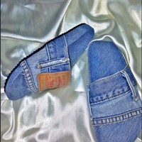 SWEET LORD O'MIGHTY! OG DENIM SLIDES IN MEDIUM WASH