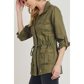 Cargo Long Sleeve Anorak Jacket with Drawstring Waist