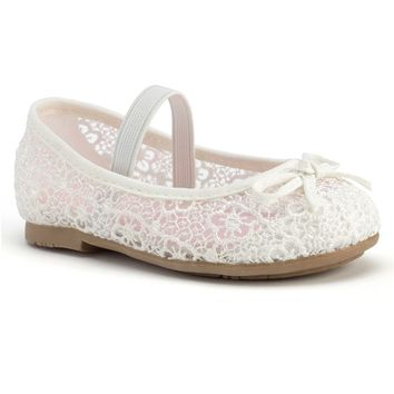Jumping Beans Toddler Girls' Crochet Ballet Flats (White)
