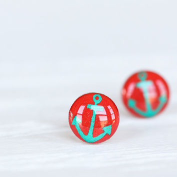 Anchor Post Earrings in Red & Aqua by aRainyAfternoon on Etsy