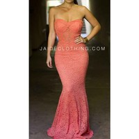 Coral Mermaid Bustier Lace Maxi Dress - Jaide Clothing