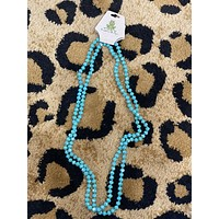"""Teal Long Bead Necklace-60""""-BEST SELLER"""