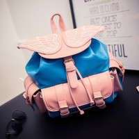 Cute Angel Wing Leather Backpack Schoolbag Handbag