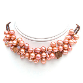 Peach Rose Pearl Necklace, Choker Necklace, Bridal Jewelry, Fashion Jewelry