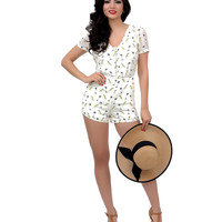 Ivory Parrot & Palm Tree Button Up Cut Out Romper