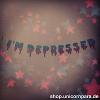 Drippy Font I'm Depressed Banner in TwoTone by UnicornParadeShop