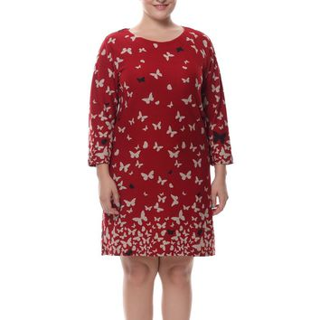 Chicwe Women's Cashmere Touch Plus Size Butterfly Printed Dress US16-26