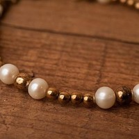 Pearl and Bronze beaded anklet