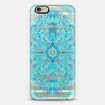 Watercolor Lace Doodle in Turquoise & Aqua on Transparent iPhone 6 case by Micklyn Le Feuvre | Casetify