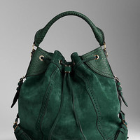 Large Suede and Python Bag