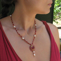 Ruby Pendant with crystals Swarovski, natural pearls and 24K Gold Plated Japanese Seed Beads - hot summer jewelry - seed bead jewelry