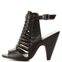 Strappy Huarache Slingback Heels by Charlotte Russe