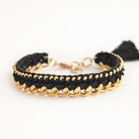 Black bracelet with chunky chain and beads, crochet bracelet with tassel charm, bohemian bracelet, black and gold