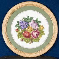 Hand Stitched - Summer Bouquet of Roses and Violets - A Round Framed Picture