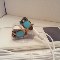 Sweet Little Turquoise Hooter earbuds