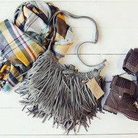 Canyon Fringe Tote in Gray