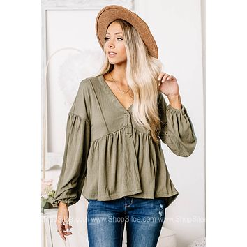 Full Of Potential Sage Baby Doll Top