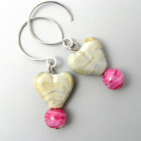 Lichen and Tulip Pink sterling silver earrings handmade by GemBonz