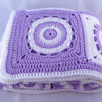 Lavender Purple, White Crochet Baby Blanket Handmade Circles in Squares