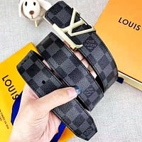 Louis Vuitton LV Tide brand men and women classic checkerboard belt