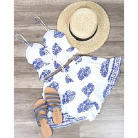 Final Sale - Festival Shop - Boho Print Two Piece Set - White/Blue