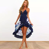 Floral V Neck Spaghetti Strap Sheath Ruffled Asymmetrical Mid Dress