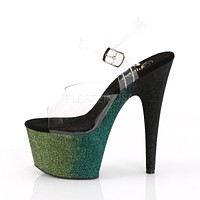 "Adore 708 Ombre Emerald Poison Glitter Blend Effect Platform 7"" High Heel Shoe"