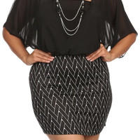 Chiffon Checkered Mini Dress - Black - Plus Size