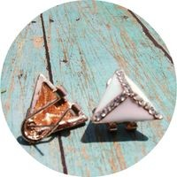 White & Rose Gold Triangle Earrings from Ever