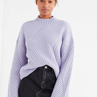 UO Mock-Neck Zig Zag Ribbed Sweater | Urban Outfitters