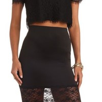 Lace-Trimmed Bodycon Pencil Skirt by Charlotte Russe - Black