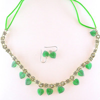 Emerald Green Charm Necklace - Antique Gold Necklace-Glass Leaf Charms-Green Color Gift