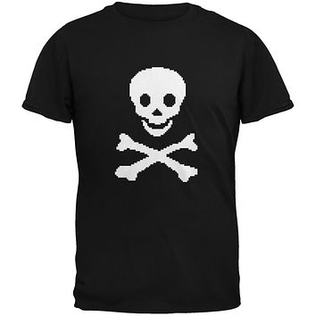 8-Bit Skull And Crossbones Black Youth T-Shirt