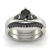 AMAZING 1.35CT BLACK ROUND 925 WHITE STERLING SILVER ENGAGEMENT AND WEDDING RING