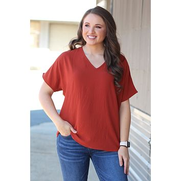 {Rust} Classic Style V-neck Blouse