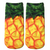 Yellow & Green Pineapple Knit Ankle Socks