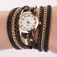 Leather Wrap Wrist Watch - Black