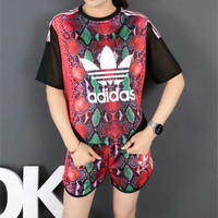 """Adidas"" Fashion Casual Multicolor Clover Letter Print Gauze Stitching Short Sleeve Set Two-Piece Sportswear"