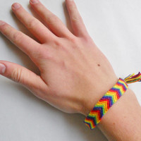 Friendship Bracelet - Chevron Rainbow - Handmade